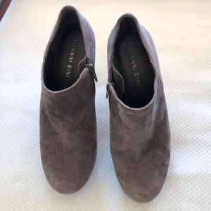 Gray suede booties